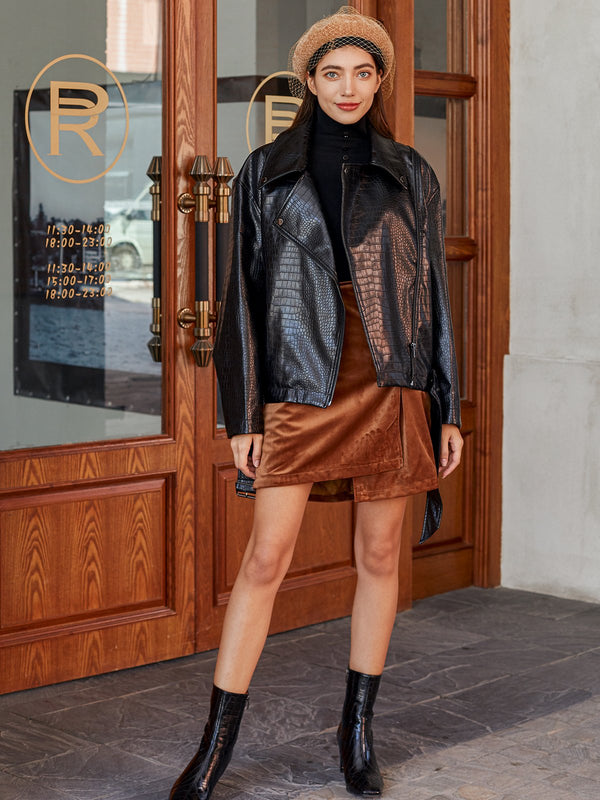 Black Shift Long Sleeve Faux Leather Jackets