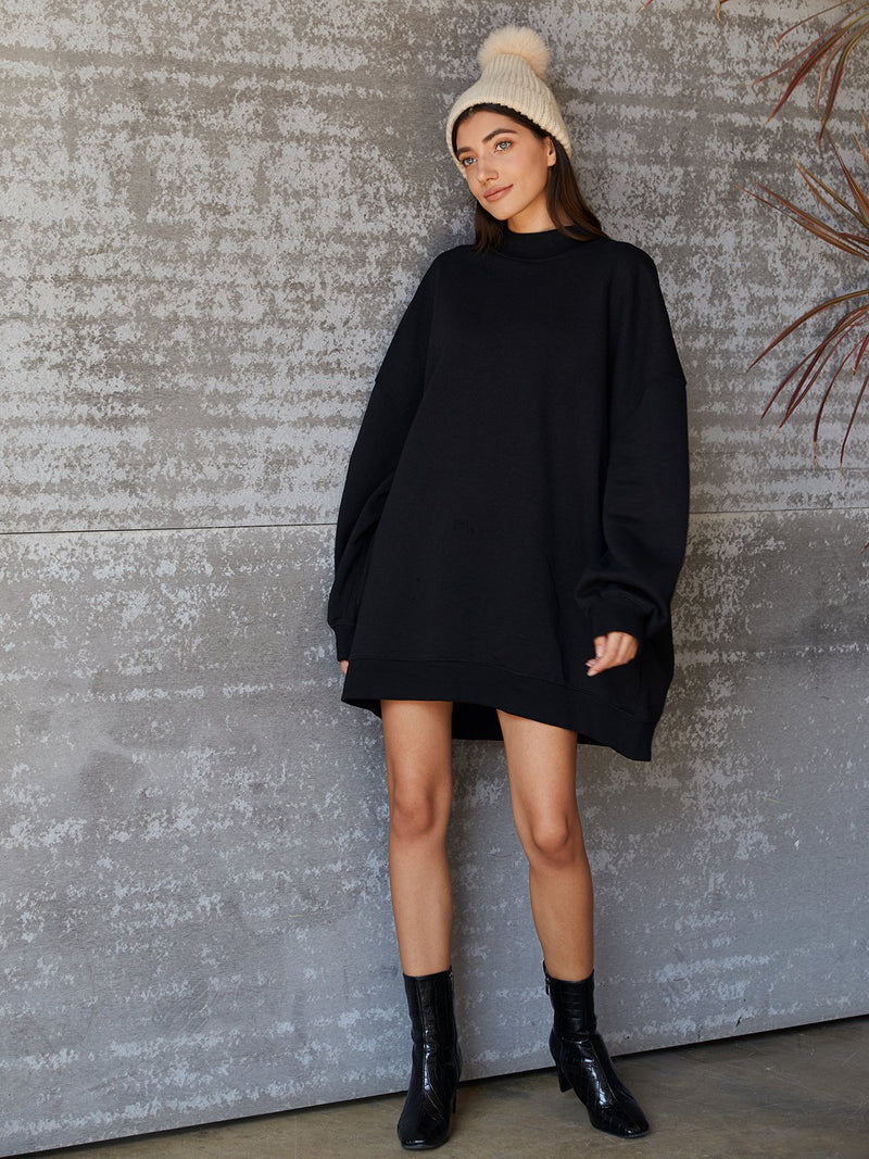 Black Casual Solid Dresses