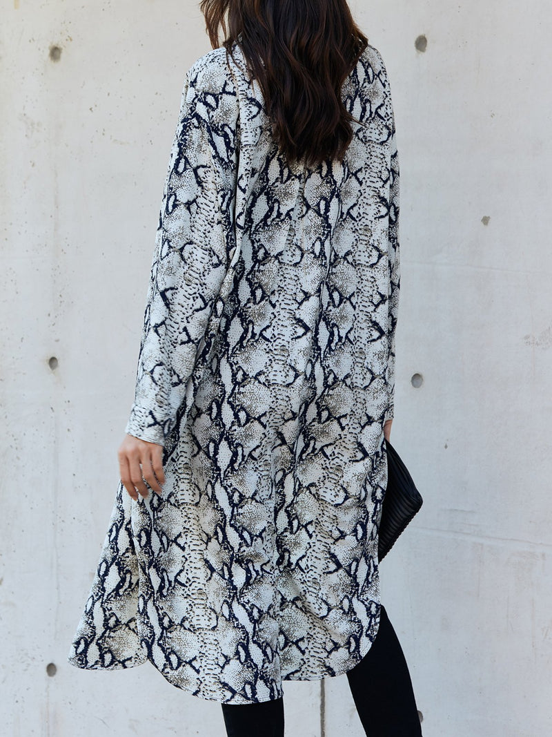 White Shift V Neck Snakeskin Long Sleeve Dresses