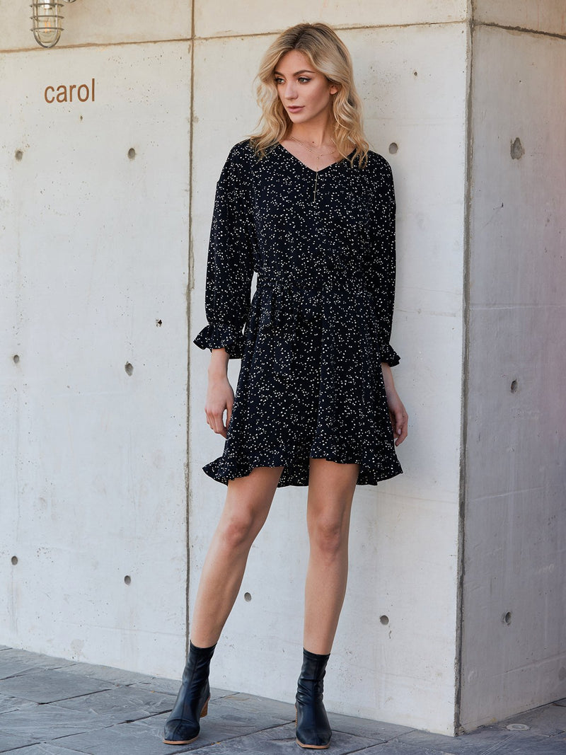 Black Polka Dots Long Sleeve V Neck Flounce Shirts & Tops