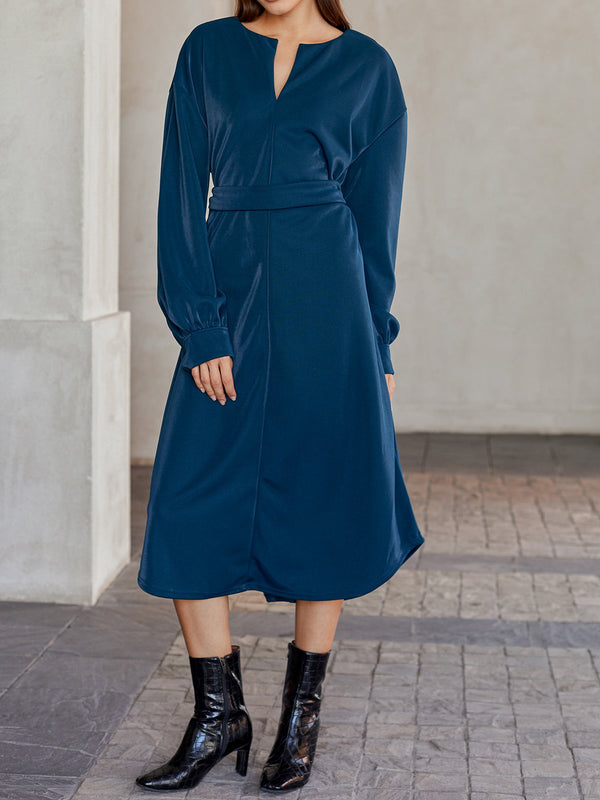 Blue Work Velvet Solid Shift Dresses