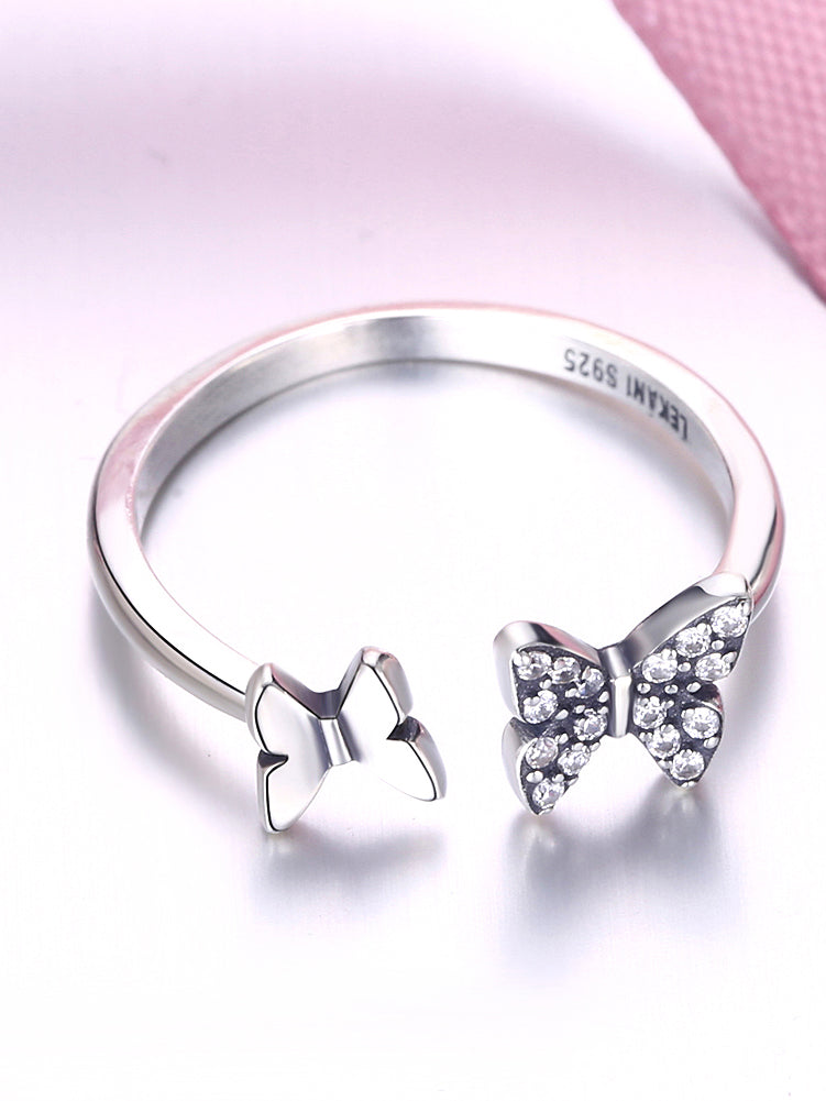 Silver-Color Rhinestone Animal Ring