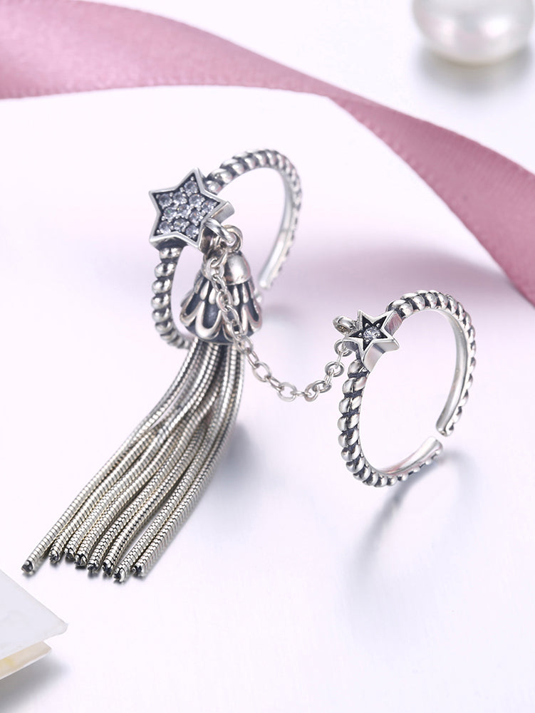 Silver-Color Star Fringe  Rhinestone Ring