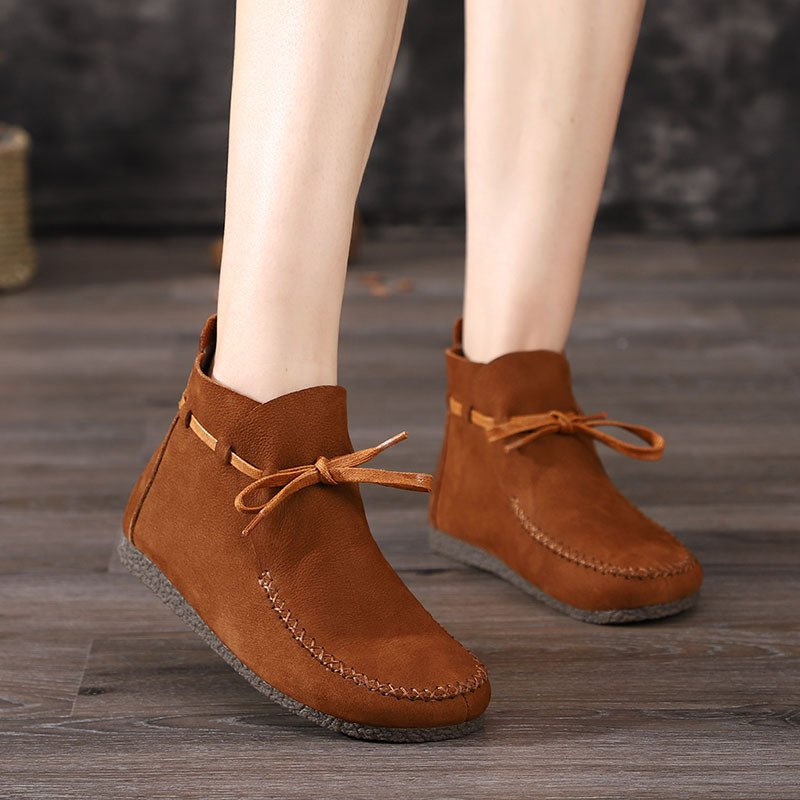 Brown Lace-Up Daily Flat Heel Fall Boots