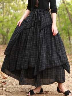 Black Casual Cotton-Blend Skirts