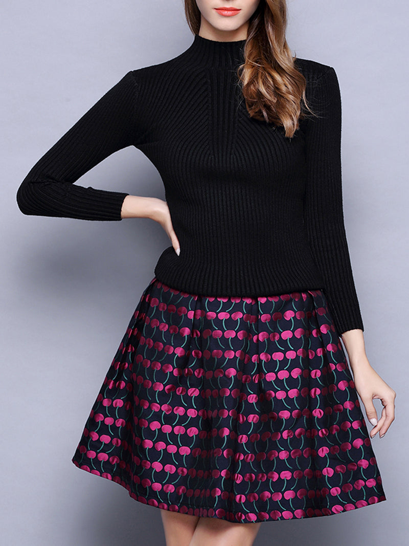 Polka Dots Knitted Casual Top With Skirt Set