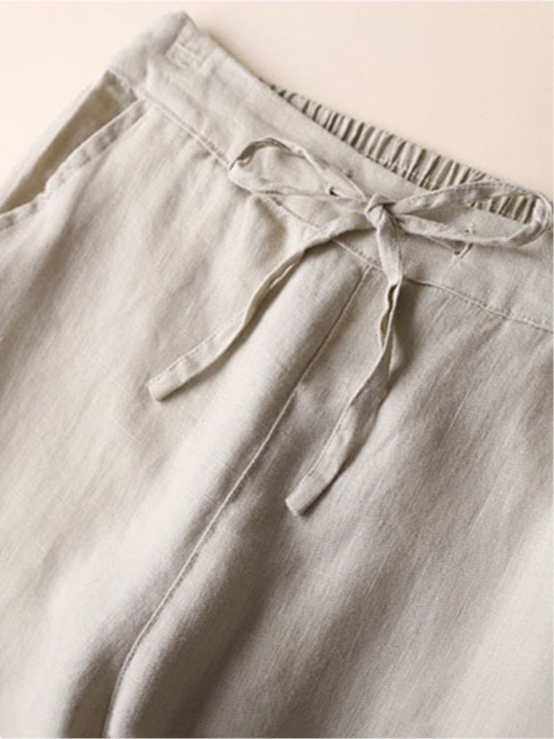 Casual Pockets Plain All Season Drawstring Plus Size Pants
