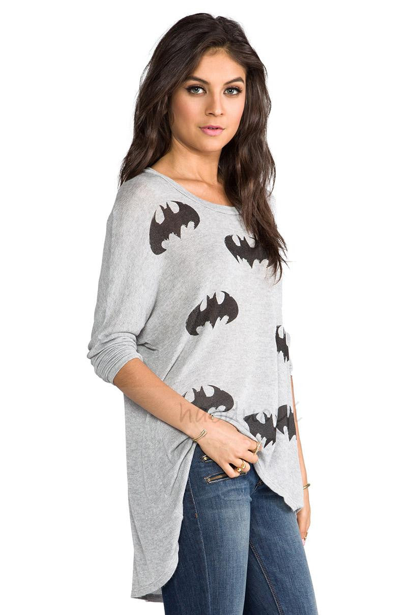 Plus size Gray Casual Cotton Shirts & Tops
