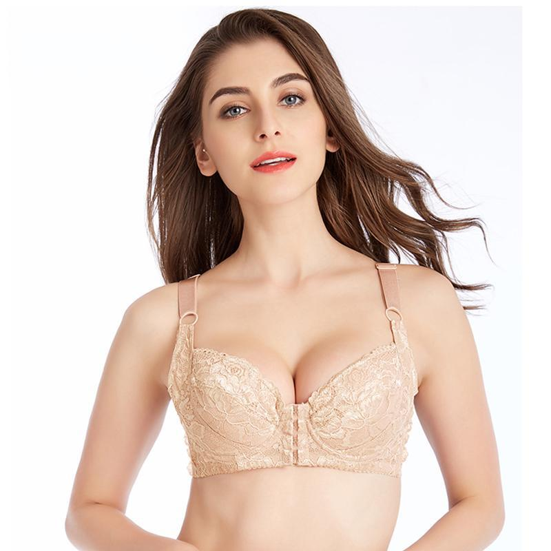Angelvic Elegant Embroidery Front Closure Cozy Push Up Underwire Bras(US B/C/D/DD Cup) Cameo
