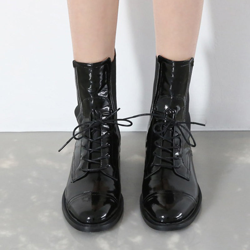 Black Low Heel Leather Lace-Up Boots