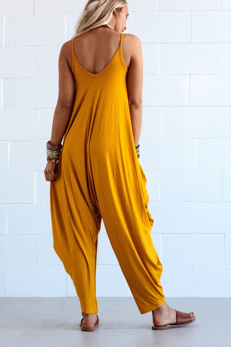 Yellow V Neck Overalls Denim Sleeveless Jeans One-Pieces