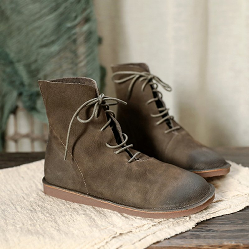 Lace-Up Flat Heel Pu Casual Boots