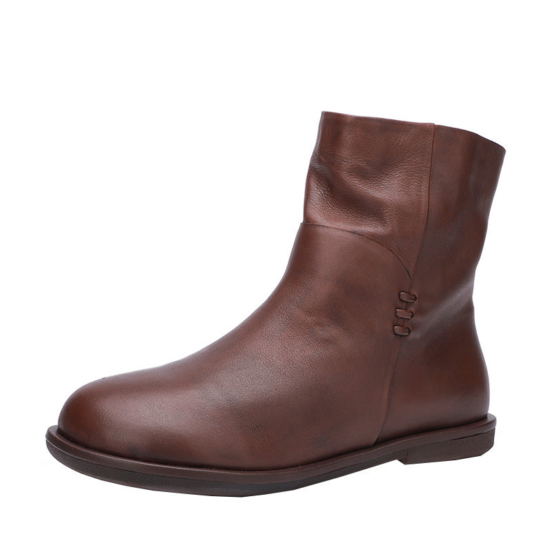 Brown Pu Daily Zipper Boots