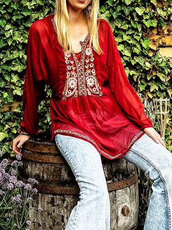 Red Embroidered Shift V Neck Long Sleeve Shirts & Tops