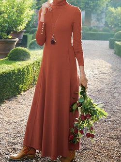 Brick Red Elegant A-Line Cowl Neck Dresses
