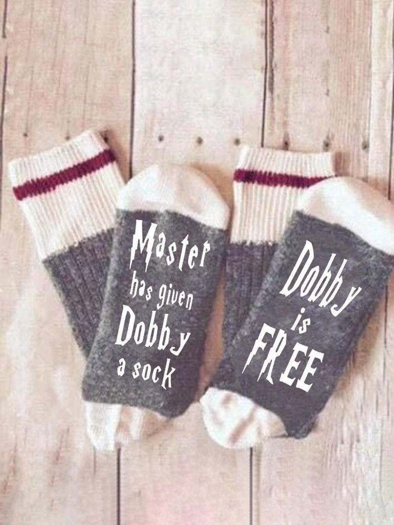 Mens Womens Master has given Dobby a Socks  Cotton Letter fuzzy Socks