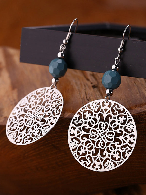 Tribal Jewelry Vintage Silver Big Round Earhook Retro Flower Pendant Earrings