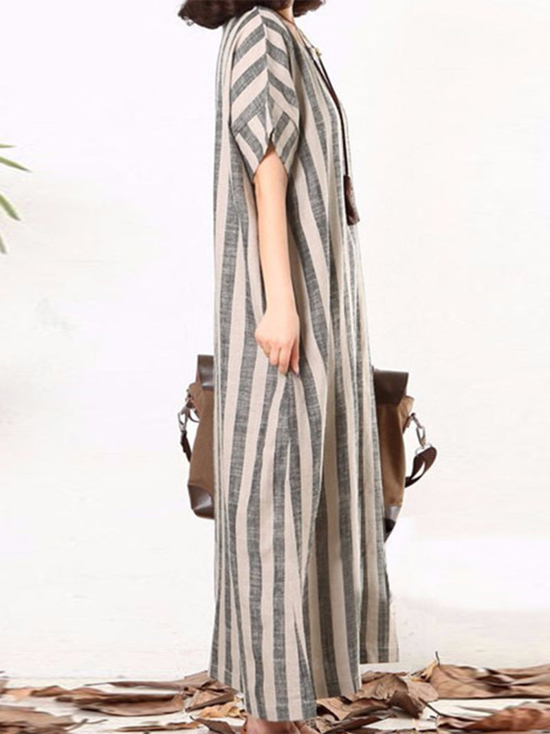 Plus Size Casual Gray A-line Stripes Dress