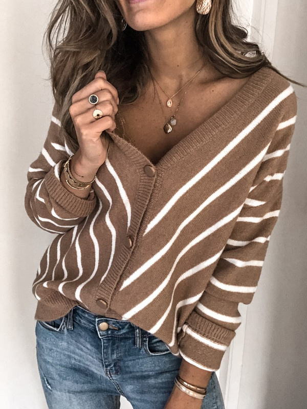 Brown Casual Long Sleeve V Neck Plus Size Sweater