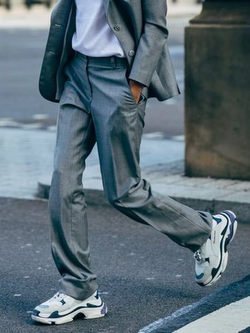 Grey Formal Cotton-Blend Pants