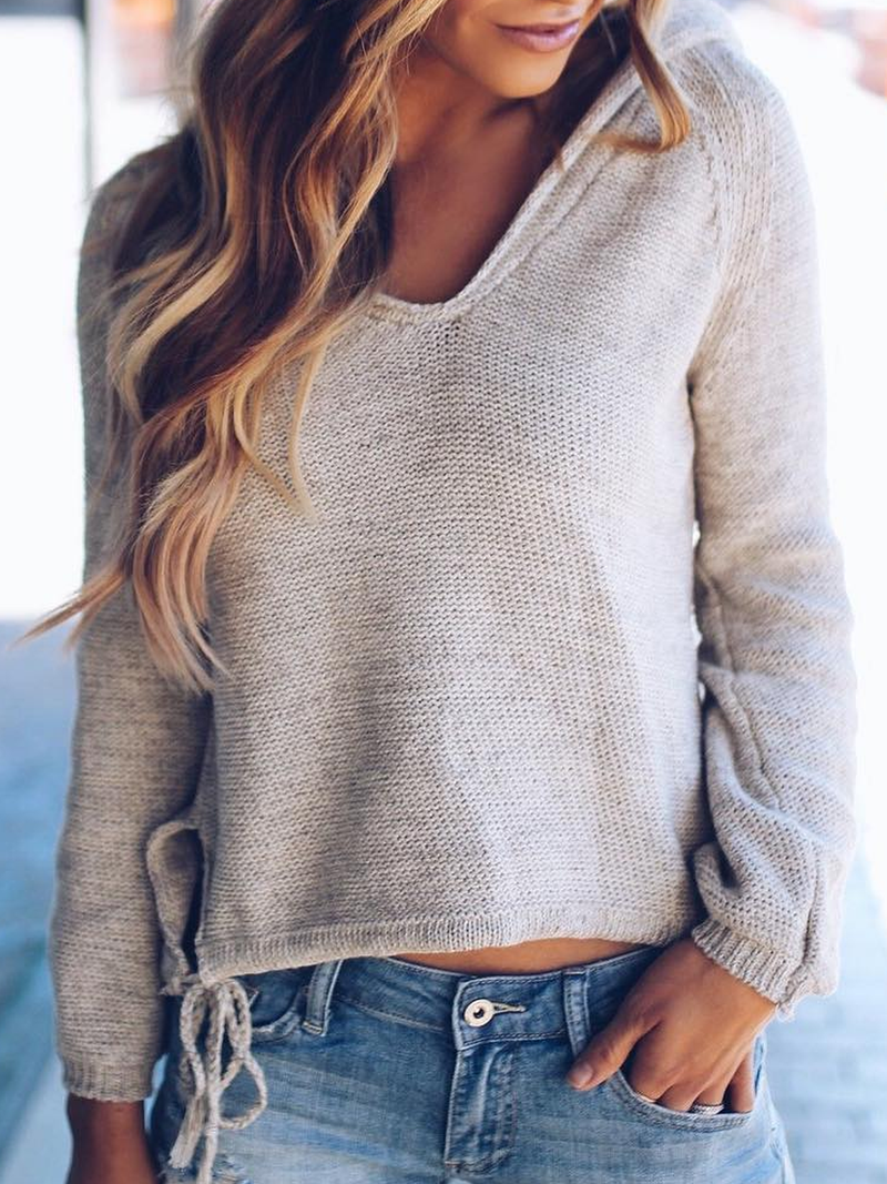 Beige Hoodie Casual Knitted Plus Size Sweater