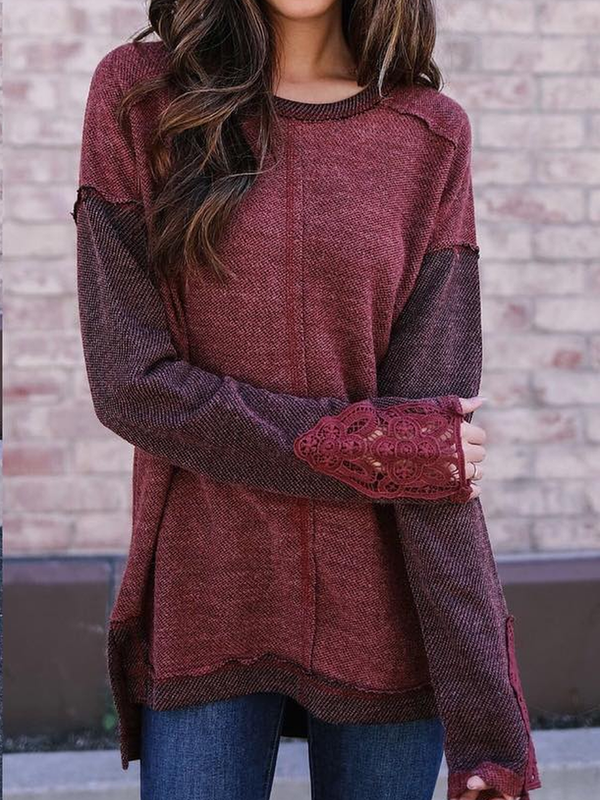 Rust Long Sleeve Casual Plus Size Sweatshirts