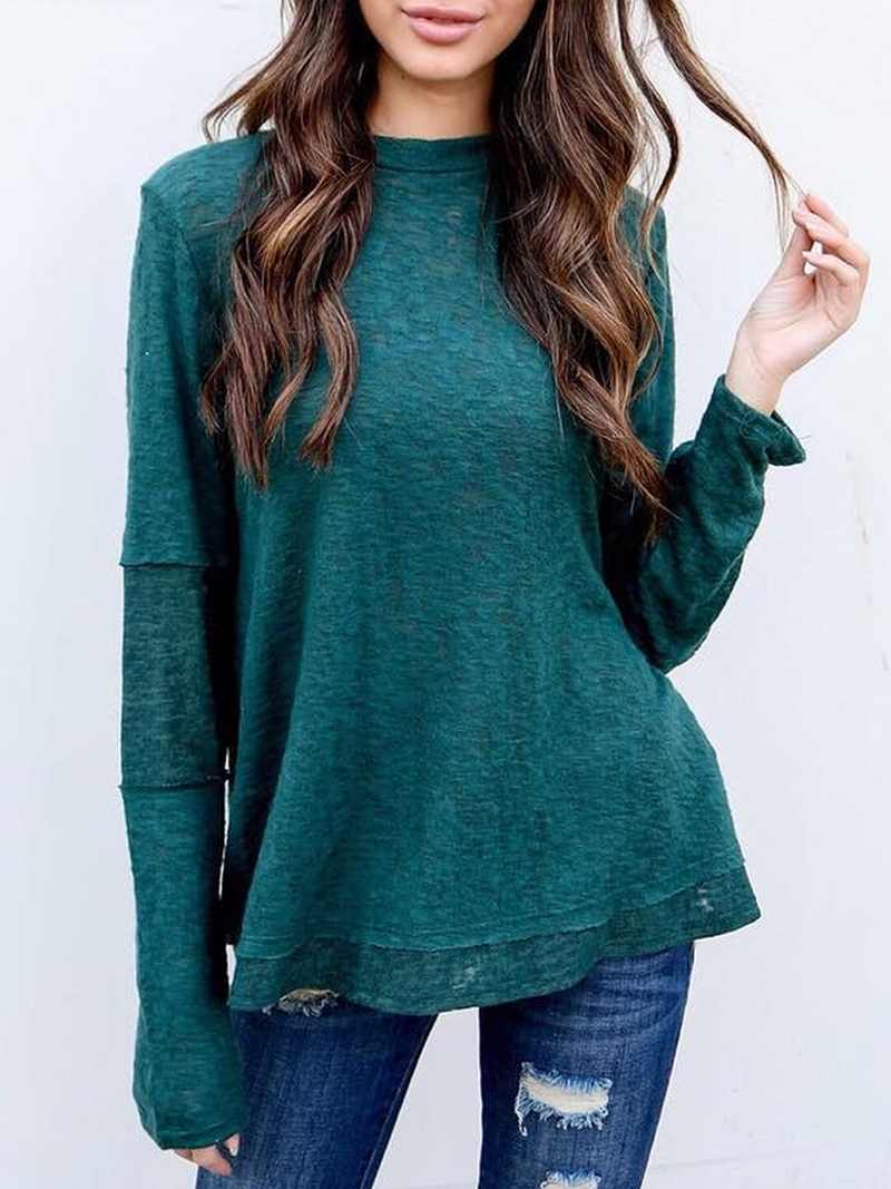 Deep Green Crew Neck Casual Plus Size Sweatshirts