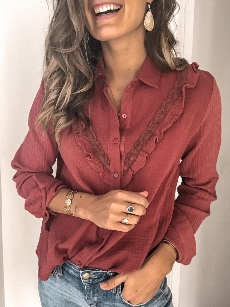 Red Long Sleeve Shirt Collar Cotton-Blend Plus Size Shirts