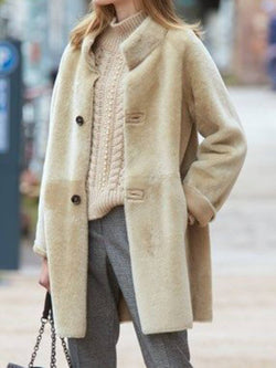 Beige Stand Collar Casual Faux Fur Plus Size Coat
