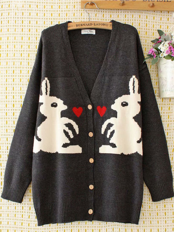 Long Sleeve Knitted Animal Outerwear