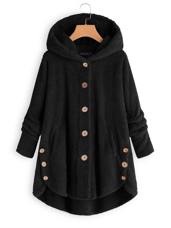 Cozy Fleece Hooded Sherpa Coat Symmetrical Button Teddy Bear Coats