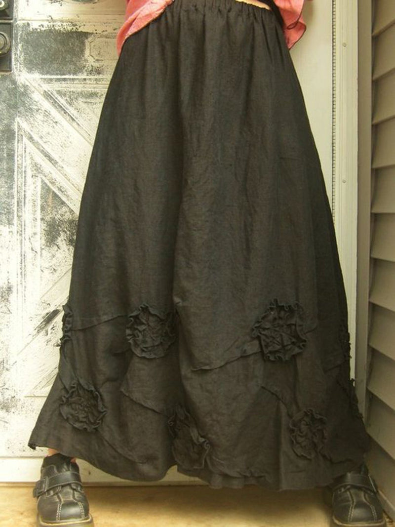 Casual Vintage Cotton-Blend Skirts