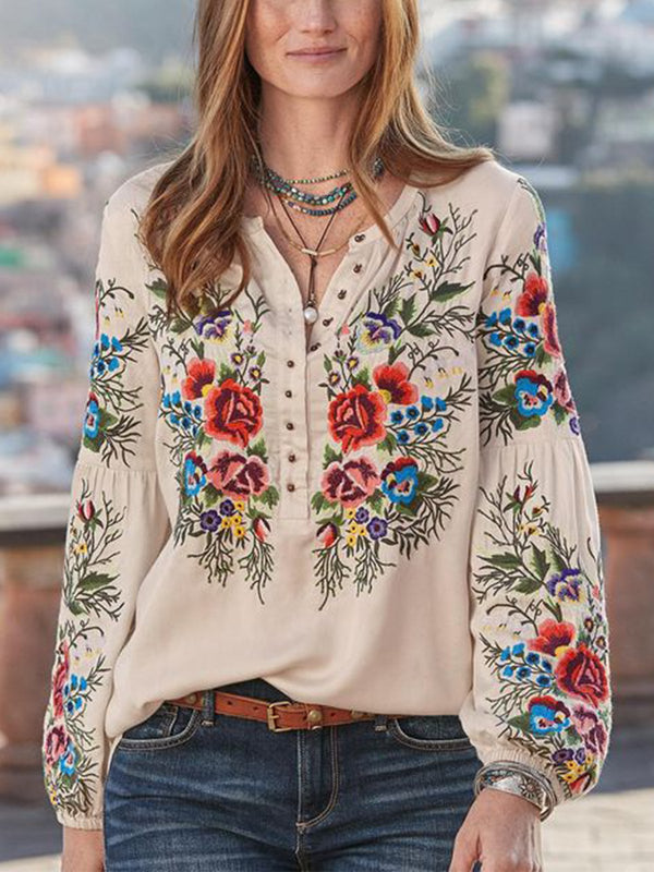 Ethnic Bohemian Floral V Neck Long Sleeve Women Blouse