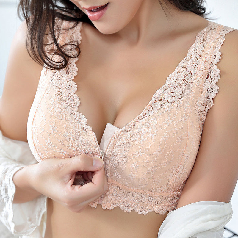 Angelvic Front Zipper Cotton Lining Gather Wireless Soft Lace Comfort Embroidery Bra
