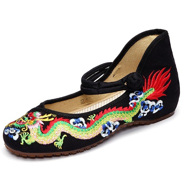 Colorful Vintage National Wind Chinese Embroidered Dragon Mary Janes Flat Shoes