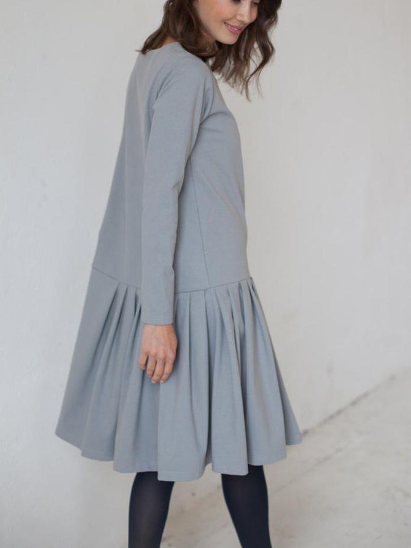 Light Gray Long Sleeve Linen Dresses