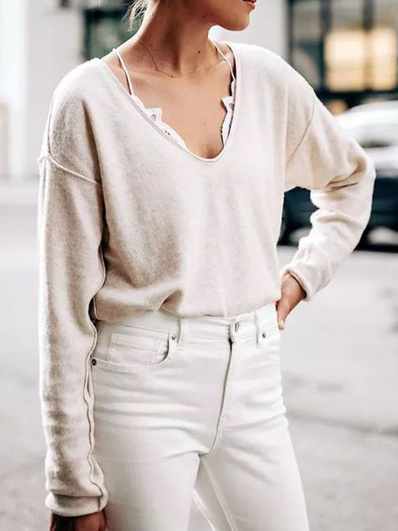 Beige Long Sleeve Casual Paneled Plain Shirts & Tops