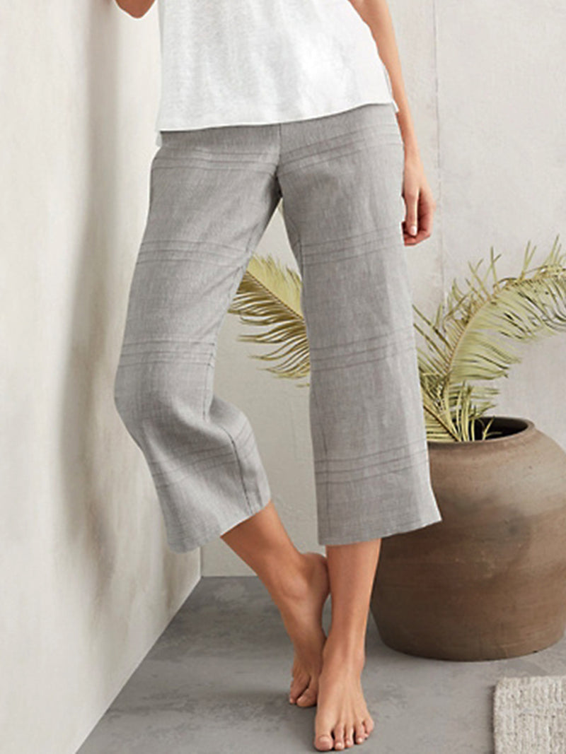Plain Cotton-Blend Pants