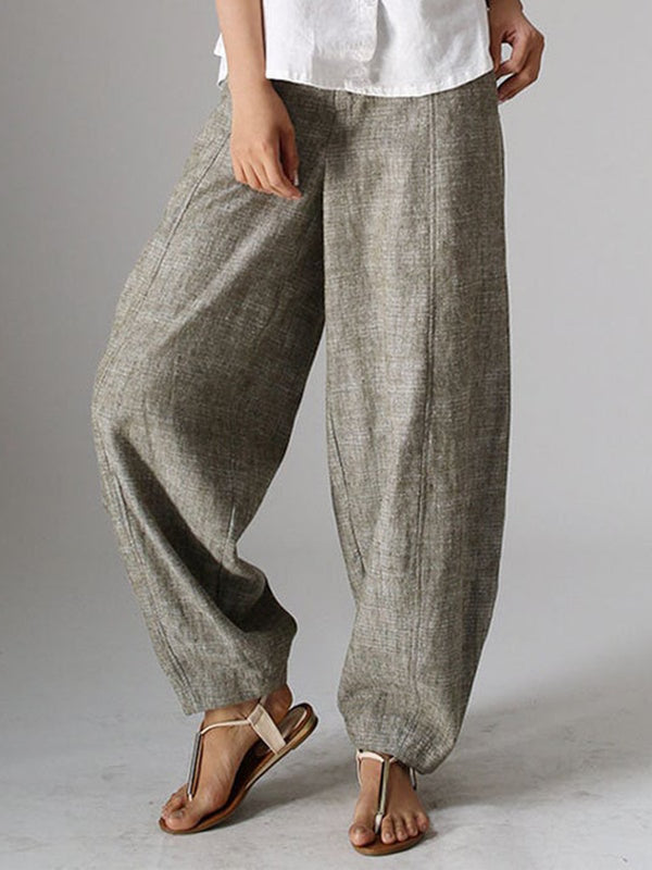 Women Natural Casual Plain Linen Plus Size Pants