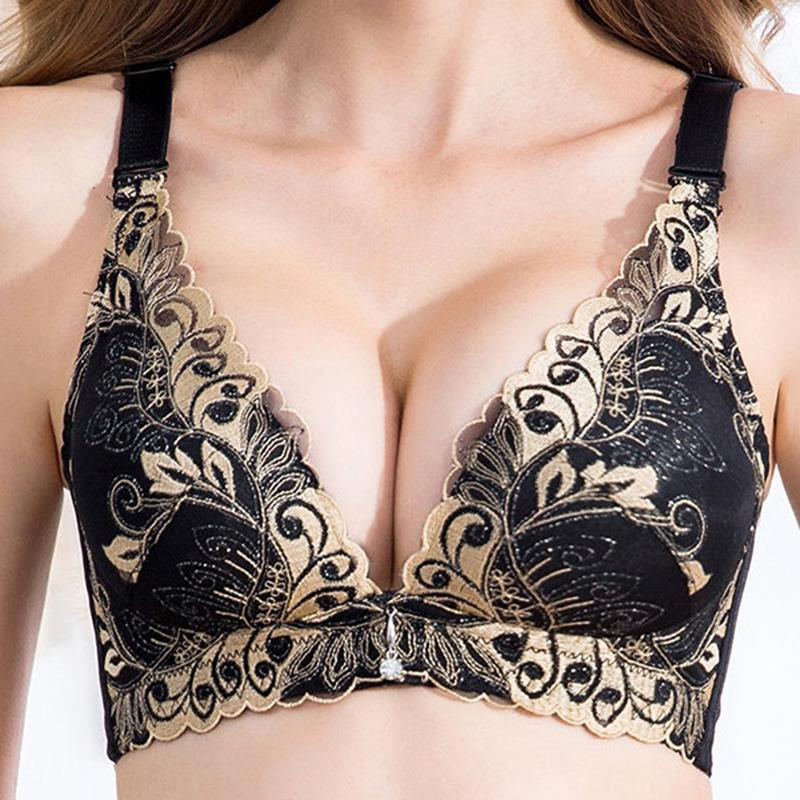 Embroidery Wireless Busty Gather Wireless Push Up Bra