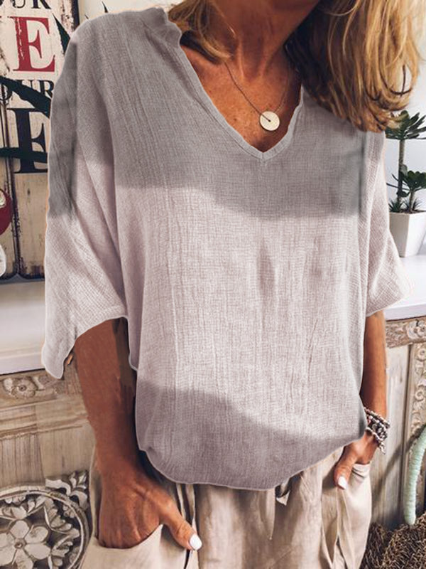 Casual Plain V Neck Shirts & Tops