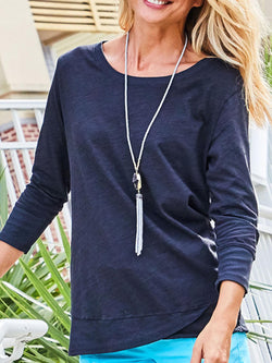 Black Casual Long Sleeve Crew Neck Shirts & Tops