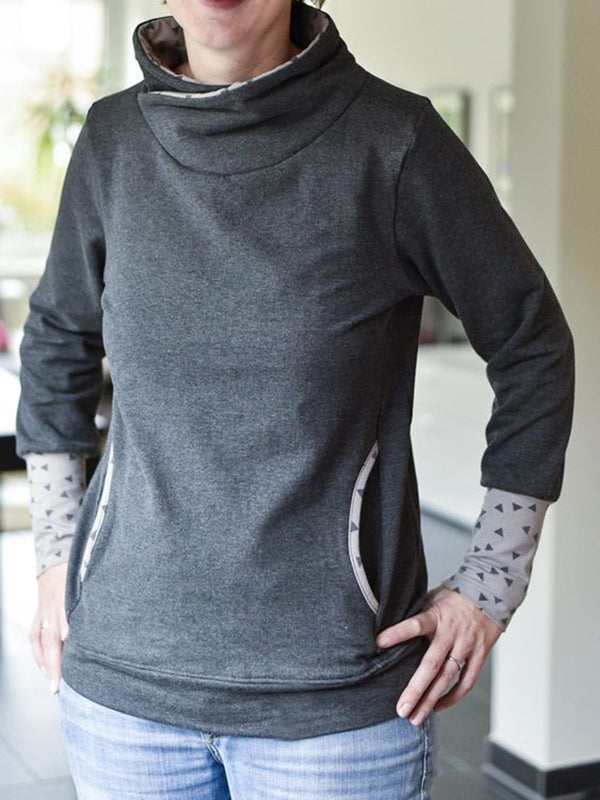 Pockets Geometric Long Sleeve  Sweatshirt