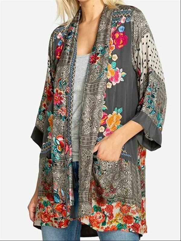 Grey Vintage Casual Flora Printed Casual Daily Cotton Long Blouse Coat