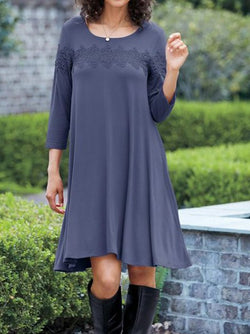 Blue Gray Casual Knitted Shift Dresses