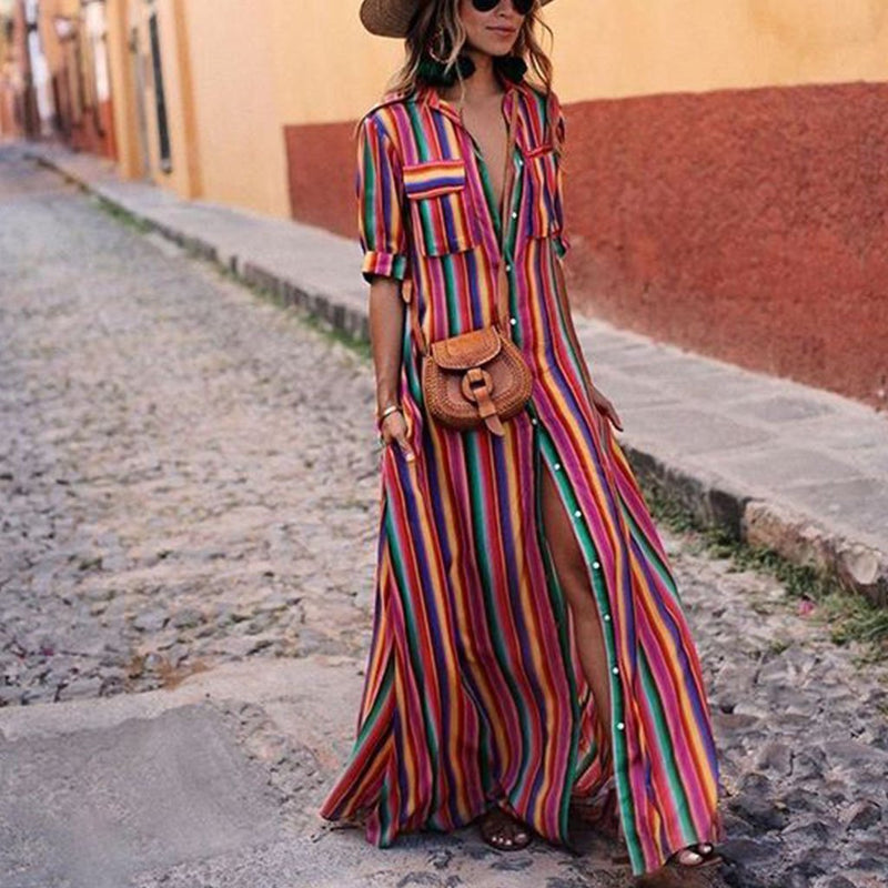 Button Down Collar  Stripes  Roll Up Sleeve  Half Sleeve Maxi Plus Size Dress