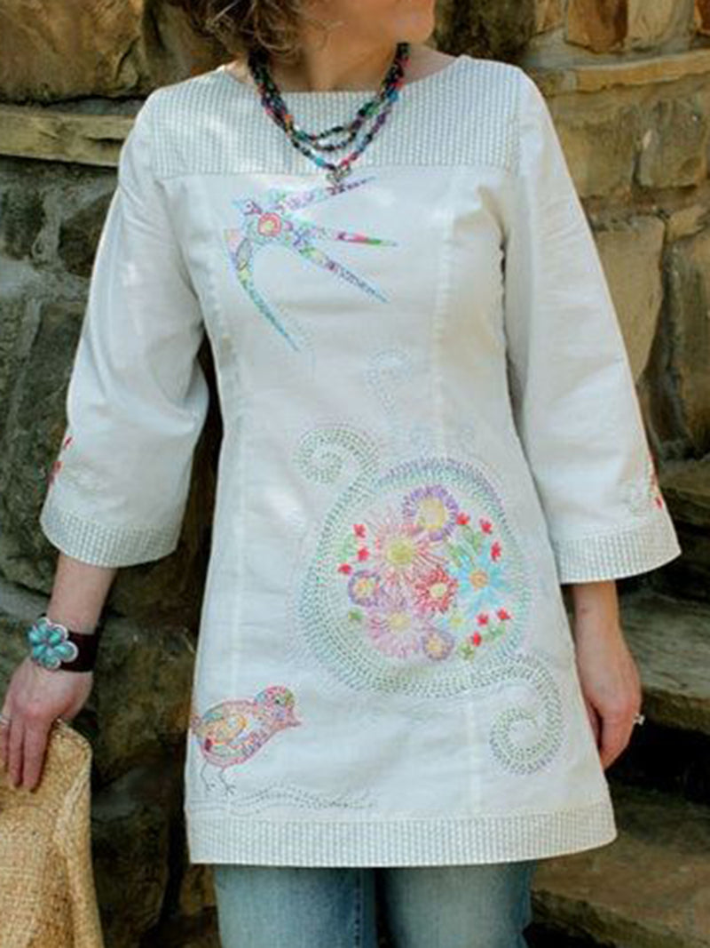 Pearl White Long Sleeve Floral Paneled Crew Neck Shirts & Tops