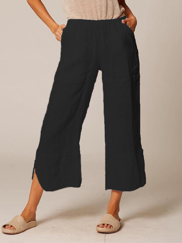 Women Plus Size Cotton Casual Solid Wide Leg Pants