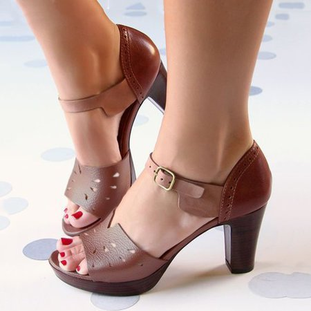 Chunky Heel Ankle Strap Hollow Out Elegant Shoes Working Daily Shoes