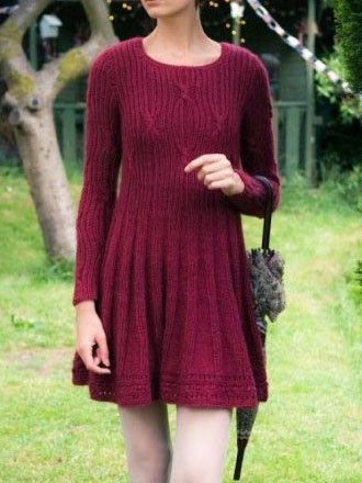 Red Long Sleeve O-Neck Casual Dresses